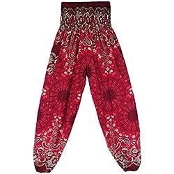MORCHAN ❤ Hommes Femmes thaïlandais Harem Pantalons Boho Festival Hippy Smock Taille Haute Pantalons de Yoga Jeans Combinaisons Pantalon Court Collants Leggings Knickerbockers(Taille Libre,Vin)