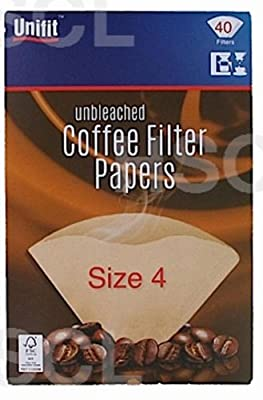 Unbleached Four Cup Coffee Filter Papers Pack of 40 1-4 Cups Size 4