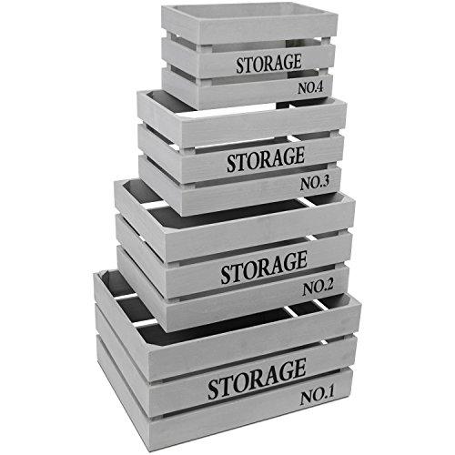 4tlg. Kistenset Storage Grau Holzkiste Dekokiste Aufbewahrungskiste Obstkiste Allzweckkiste