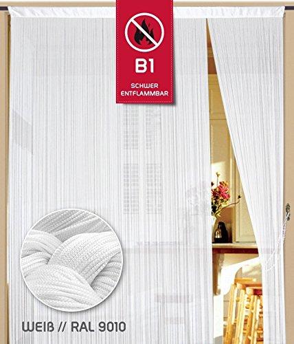 Fadenvorhang 90 cm x 200 cm weiß in B1 schwer entflammbar