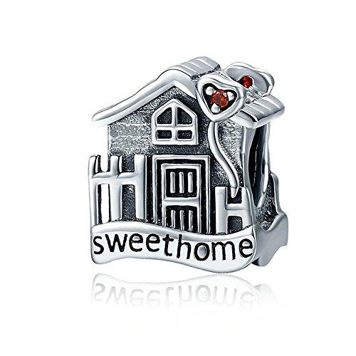 Charm a forma di casetta e scritta Sweet Home, 100% in argento Sterling 925, compatibile con collane e bracciali per ciondoli, SCC416