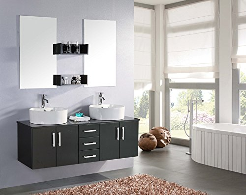 Mobile bagno BUTTERFLY arredo bagno arredobagno 150 cm nero laccato mobile + lavandino + specchi + 2 miscelatori completo moderno IL PIU VENDUTO