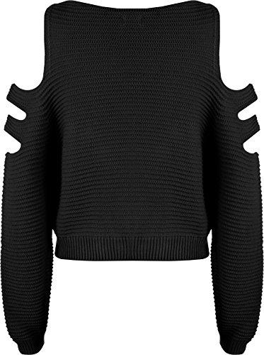 WearAll - Femmes De Épaule Coupe Tricoté Longue Manche Court Cavalier Haut Chandail - hauts - Femmes - Tailles 36-42 Noir