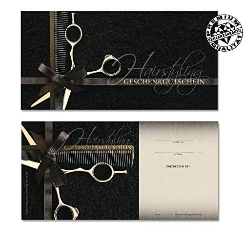 50 Stk. Hochwertige Gutscheinkarten Geschenkgutscheine DIN-lang. Motiv für Friseurgeschäfte. Vorderseite hochglänzend. K9292