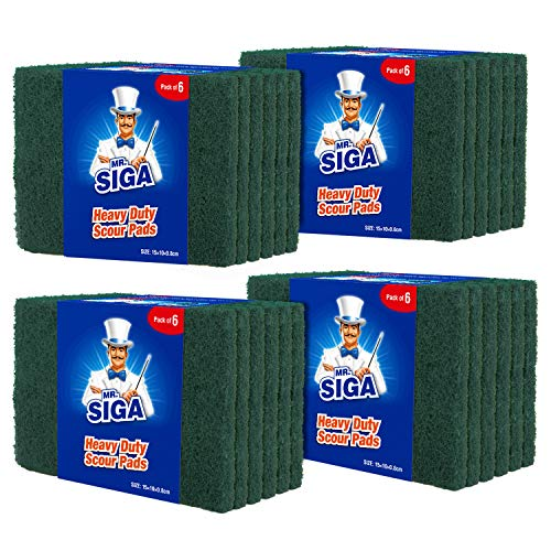 MR.SIGA Hochleistungs-Scheuerschwamm Haushaltsschrubber Reinigungstücher Topfkratzer für Küche, Spüle, Schale, 24er-Pack, 3,9 x 5,9 Zoll (10 x 15 cm), Grün (Grill-tools Mr)