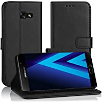 Simpeak Ersatz Galaxy A3 2017 Leder Hülle Schwarz, PU Leder Flip Case Cover Wallet Simpeak Ersatz Samsung A3 2017 [Kartensteckplätze] [Stand Feature] [Magnetic Closure Snap]