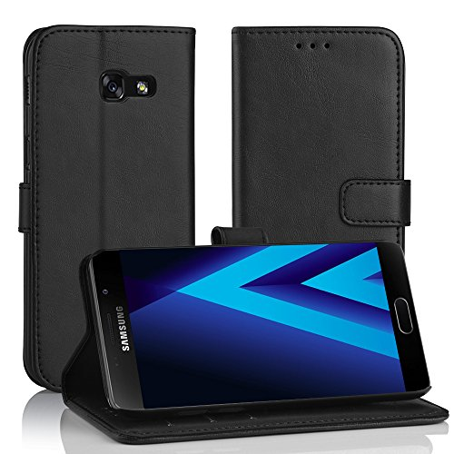 galaxy a3 case Simpeak Ersatz Galaxy A3 2017 Leder Hülle Schwarz, PU Leder Flip Case Cover Wallet Simpeak Ersatz Samsung A3 2017 [Kartensteckplätze] [Stand Feature] [Magnetic Closure Snap]