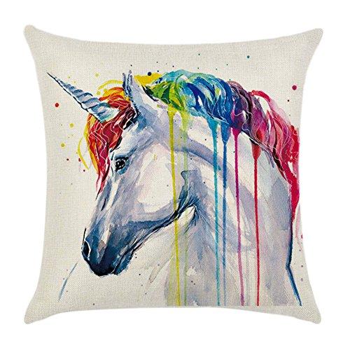 Produktbild bei Amazon - Blue Vessel Regenbogen Baumwoll Leinen Kissenbezug Sofa Throw Kissenbezug Home Decor (Einhorn)