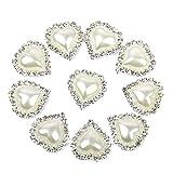 Newin Star Ropa 10 Piezas de 20 x 25 mm Delicado del corazón en Forma de Joyas Accesorios Rhinestone Perlas de imitación de Pegamento en la Parte Posterior Plana Adornos Blanca