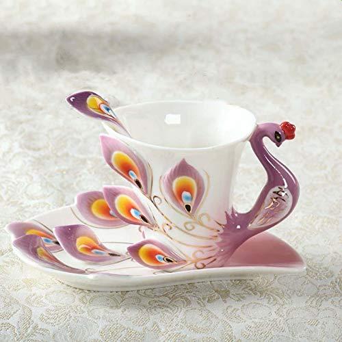 Kreatives Geschenk Pfau Keramik Tasse Chinesischen Stil Elegante Mode Emaille Kaffeetasse Besteck Lila 51-100 ML Pfau Keramik
