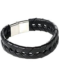 2b6cbadf978a DonDon pulsera de cuero trenzada de color negro con cierre magnético de  acero inoxidable