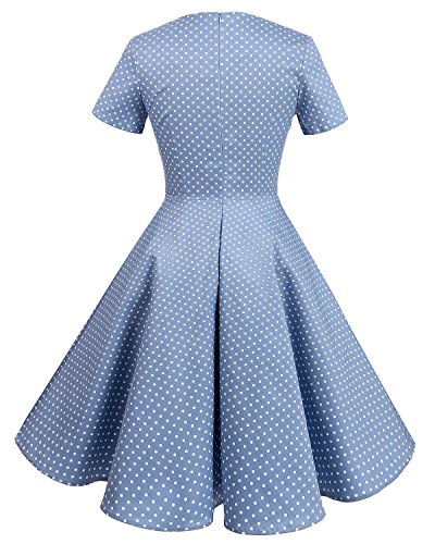 Bridesmay 1950's Rockabilly Damen Retro Vintage Cocktailkleid kurzarm knielang Partykleider Light Blue Small White Dot