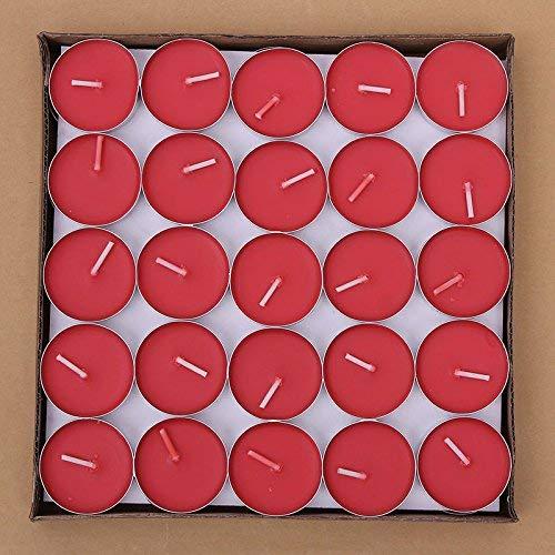 Txyk 50 Piezas Velas sin Humo perfumadas Valentines Velas románticas Juego de Luces para el Dormitorio, Sala de Estar, Oficina,(Rojo)