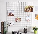 DIY Gitter Foto Wand, multifunktionale Wand Grid-Display, Wanddekoration/Foto Wand/Wand Kunst Display und Organizer, Memoboard weiß, 60 x 60 cm