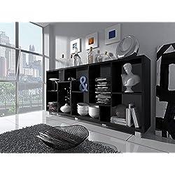 Home Innovation - Étagère Murale Rangement pour Livres, bibliothèque Salon - Séjour, Contemporaine, séparation-Division, Montage Horizontal et Vertical. Couleur Noir Mat, Dimensions: 68,5x161x25cm.
