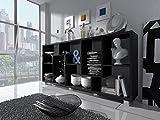 Home Innovation – Regal Bibliothek, Bücherregal, Bibliothek, Regal Design Wohn, Esszimmer Schwarz Mate, Maße: 68,5 x 161 x 25 cm Tiefe.