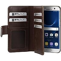 StilGut Talis XL, housse Samsung Galaxy S7 edge avec porte-cartes. Etui portefeuille à ouverture latérale et languette magnétique, café