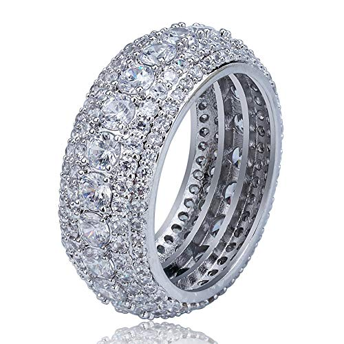 Bokning Kupfer Vintage Antik Hip Hop Iced Out Ring Runde mit Lab Diamanten - Bling Zirkonia Ring Band Männer/Frauen