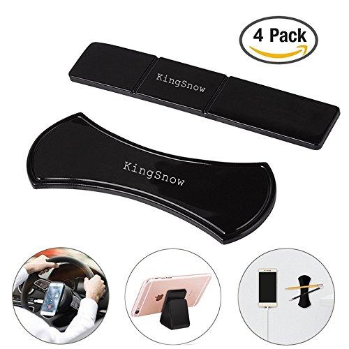 KingSnow SJZJ-18-05-12 4 Stück Handy KFZ Halterung, Universal Fixate Gel Pads Auto-Armaturenbrett Antirutschmatte, Ständer für alle Smartphones & Tablets (Schwarz)
