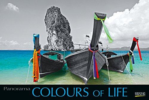 Colours of Life 2019: Großer Foto-Wandkalender mit farbigen schwarz weiß Bildern. Edler schwarzer Hintergrund und Foliendeckblatt. PhotoArt Panorama Querformat: 58x39 cm.