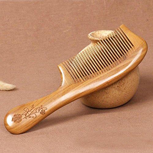 CHUANGHDF Kamm ® Grüner Sandelholzkamm Natürlicher Jade-Sandelholz-Kamm Antistatischer Haarausfall Große Zahnmassage Lockiges Haarkamm, C (Haar-stück Jade)