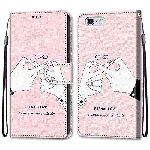 """Nadoli Bunt Leder Hülle für iPhone 6S/6 4.7"""",Cool Lustig Tier Blumen Schmetterling Entwurf Magnetverschluss Lanyard Flip Cover Brieftasche Schutzhülle mit Kartenfächern"""