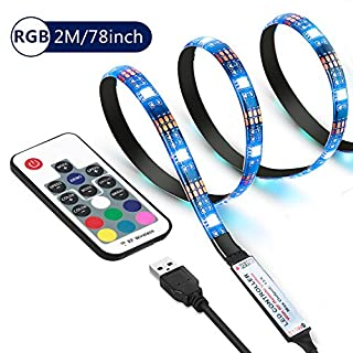 Cammate USB LED Strip Lights Waterproof - 2M/6.56ft RGB 120LEDs TV Backlight with 20 Colors and 6 Dynamic Mode, Flexible SMD LED Light Strip for Flat Screen TV LCD, Desktop Monitors, Car, Cabinets