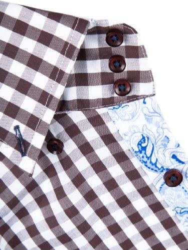 Sands Herren Hemd Adam mit Button-Down Kragen braun kariert mit paisley lightblue