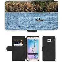 Grand Phone Cases PU Leather Flip Custodia Protettiva Case Cover per // M00141718 Oies rivière Natation Canada Goose Eau // Samsung Galaxy S6 (Not Fits S6 Edge)