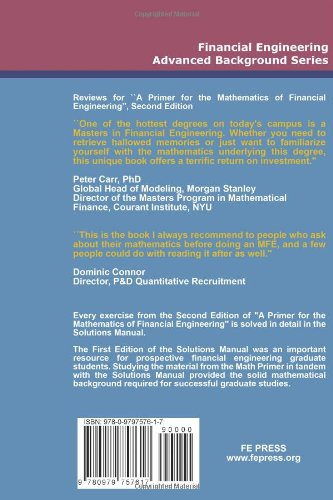 Solutions Manual - A Primer For The Mathematics Of Financial Engineering, Second Edition