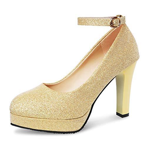 9f8e5048 PADGENE - Zapatos de Vestir de Otra Piel Mujer, Dorado (Dorado), 36