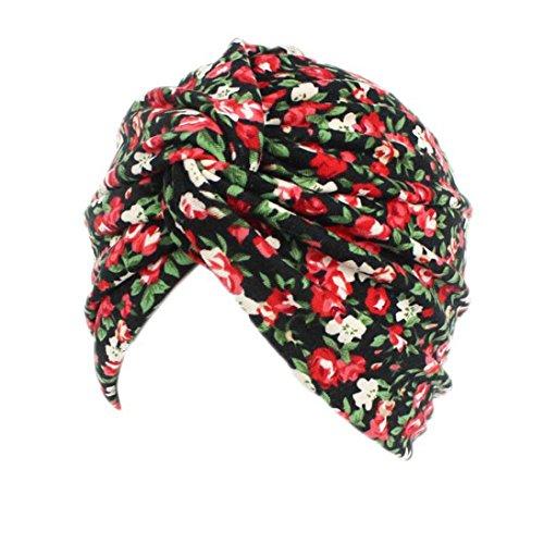 Ouneed Turban Chimio Femme Bonnet Musulmanes Coton Wrap Hijib Cap a Motifs (D)