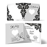 50 x Lasergeschnittene Hochzeit Einladungskarten Hochzeitseinladungen - Rustikal Schwarz Weiß