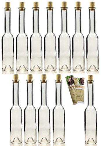 25 leere Glasflaschen Sinfonie 200 ml incl. Korken zum selbst Abfüllen Likörflasche Schnapsflasche, Öffnung 19mm