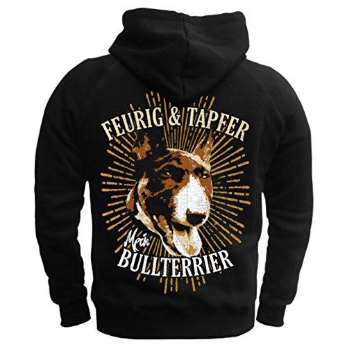 Männer und Herren Kapuzenpullover Bullterrier feurig & tapfer (mit Rückendruck) Schwarz