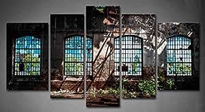 """Fashion Style industriel abandonnées 5 Panneau mural avec intérieur Bright Light ruiner Fenêtre de photo Peinture sur toile-""""Architecture photos pour Home Decor décoration de cadeau (tendue Par un cadre en bois, prêts à poser)"""