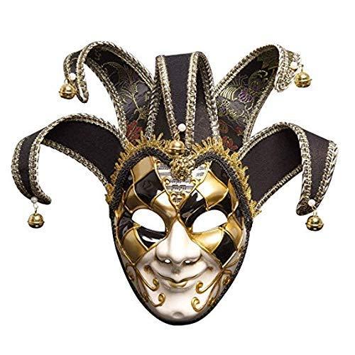 Stil Rave-Party Maske - Halbgesicht Clownmaske Dreiecksform mit Glocken Maskenmaske Halloween Kostüm Karneval ()