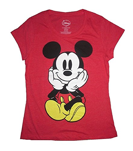 Disney Mickey Mouse Vintage Styled Juniors Graphic Front & Back Red T-Shirt Red