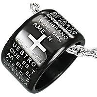 The Lord's Prayer - Pendente a forma di anello con preghiera in spagnolo (diametro: 18 mm) in acciaio INOX (collana non inclusa), colore: Nero