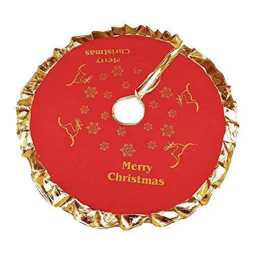 BESSKY Red Christmas Tree Skirt with Golden Ruffle Edge New Year Holiday Xmas Decor Weihnachtsbaum Rock Hirschkorb Baum Rock 90cm Schneeflocke Frohe Weihnachten -