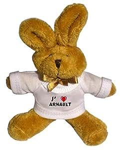 Lapin peluche porte-clé avec J'aime Arnault (Noms/Prénoms)