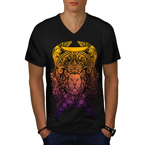 King Animal Lion Face Mad Men M V-Ausschnitt T-Shirt | Wellcoda (Men-anzug Mad)