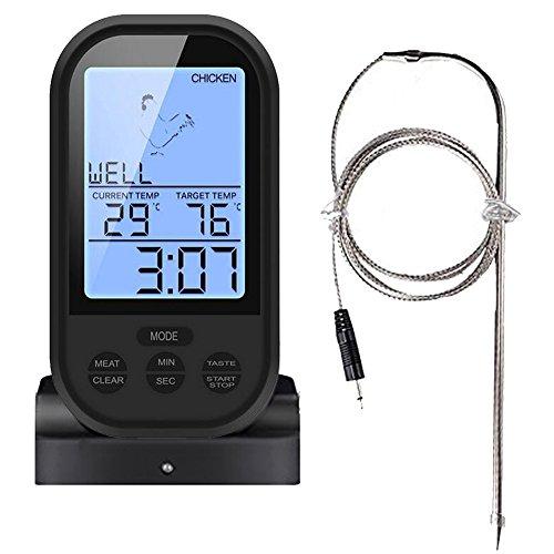 Dual-funktion Grill (PIMITI Wireless Barbecue Grill Thermometer, Digitales mit großem LCD-Display Dual-Sonde Instant-Lesung für Küche Kochen, Backofen, und Grillen Steak,Fleisch (Einzelsonde schwarz))