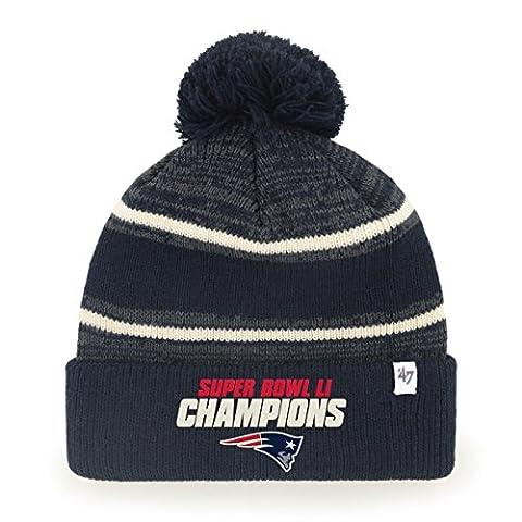 NFL New England Patriots Super Bowl 51 Champion '47 Fairfax Cuff Knit Hat, One Size, Navy