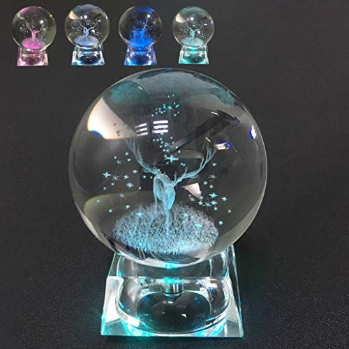 Gaddrt Crystal ball Pendolo in Cristallo di Quarzo con Sfera di Vetro Intagliato Cervo in cristallo 3DProdotto in Vendita Decorazione di-poi-Scrivania - vista a 360 ° - Cristallo K9