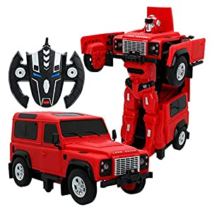 RASTAR- Coche radiocontrol Land Rover Defender transformable, Color rojo (ColorBaby 85339)