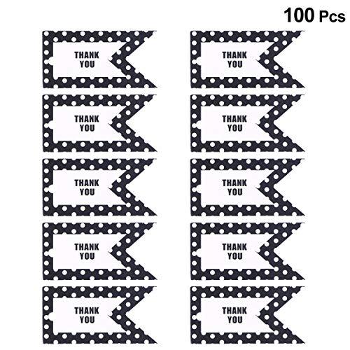 Bestoyard tag di carta regalo 100pcs etichette per bagagli puntini neri grazie etichette di carta fai da te per il giorno del ringraziamento (nero)