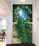 EXQUILEG DIY 5D Diamant Malerei, Kristall Strass Stickerei Bilder DIY Diamond Painting für Wohnzimmer-Dekor-Wand-Aufkleber (Pfau-Grün-60x90cm)