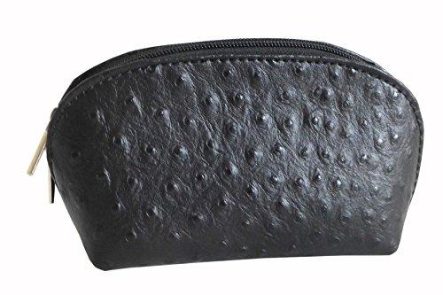 Coole kleine Kosmetiktasche in schwarz Straußenleder Optik Kosmetiktäschchen (Schwarz, Straußenleder)