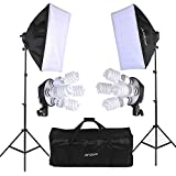 Andoer Photo Studio Softbox Lighting Cube Tent Kit With 2pcs Softbox + 8pcs 5500k 45W Daylight Bulb+2pcs 4in1 E27 Bulb Socket+2pcs 79inch Light Stand And Carrying Bag